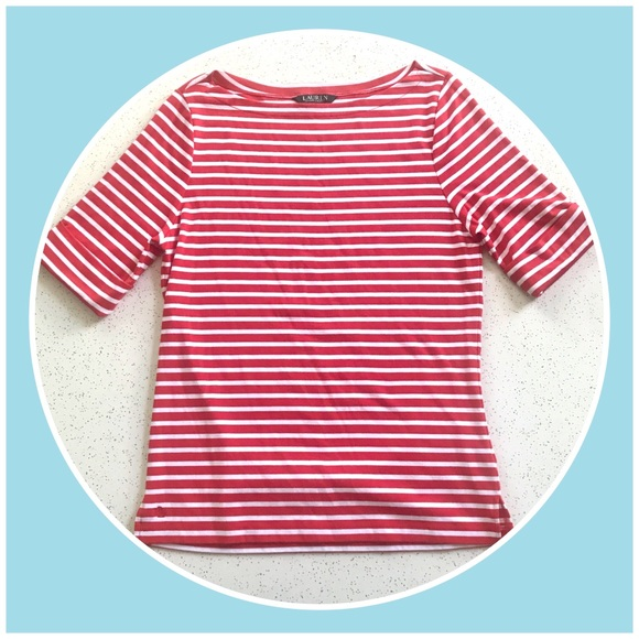 33f39985cc Lauren Ralph Lauren Tops - Ralph Lauren red and white striped boat neck top